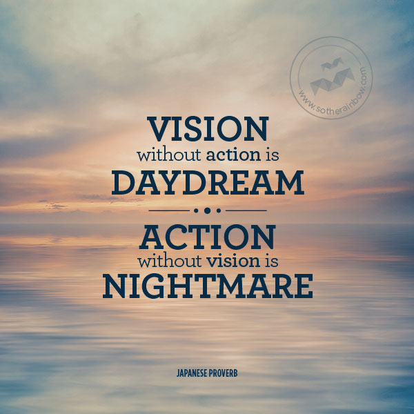 Quotes About Vision Classy Vision Without Action Is Daydreamaction Without Vision Is Nightmare.