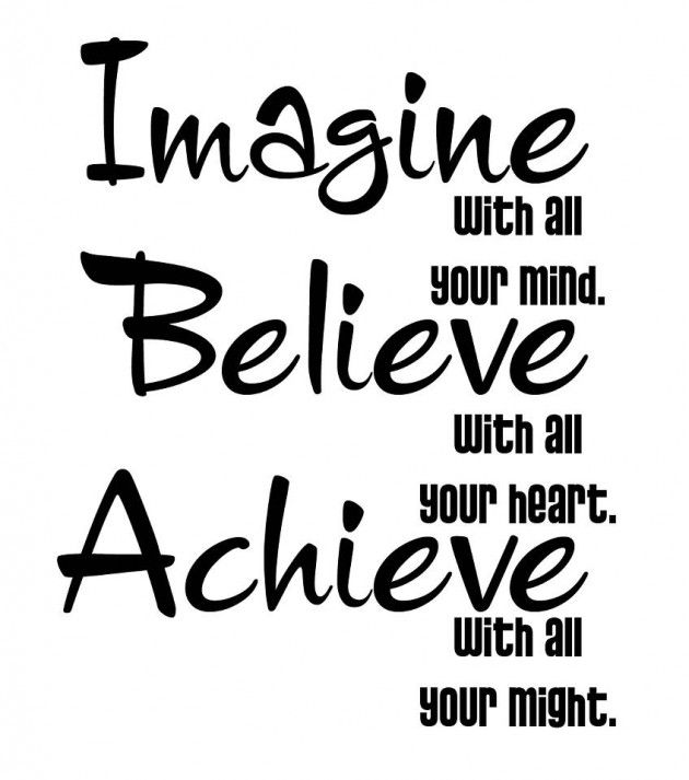 Image with your mind. Believe with all your heart.  Achieve with all your might