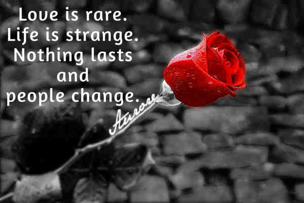 Love is rare. Life is strange. Nothing lasts and people change.