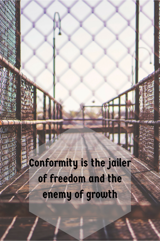 an analysis of conformity is jailer of freedom and the enemy of growth by john f kennedy Conformity is the jailer of freedom and the enemy of growth -john f kennedy-i was impressed by his words it reminds me of activism a potable projector shows three sentences on a pole.