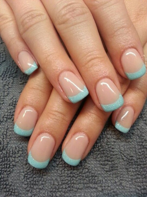 Baby blue and glitter inspired French manicure