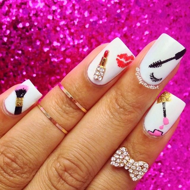 Cosmetic products nail art - lipstick eyeslash brush