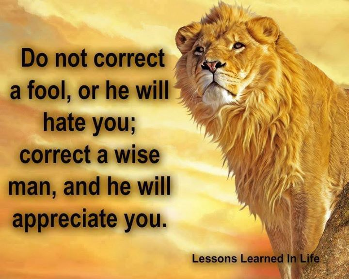 Do not correct a fool, or he will hate you; correct a wise man, and he will appreciate you.