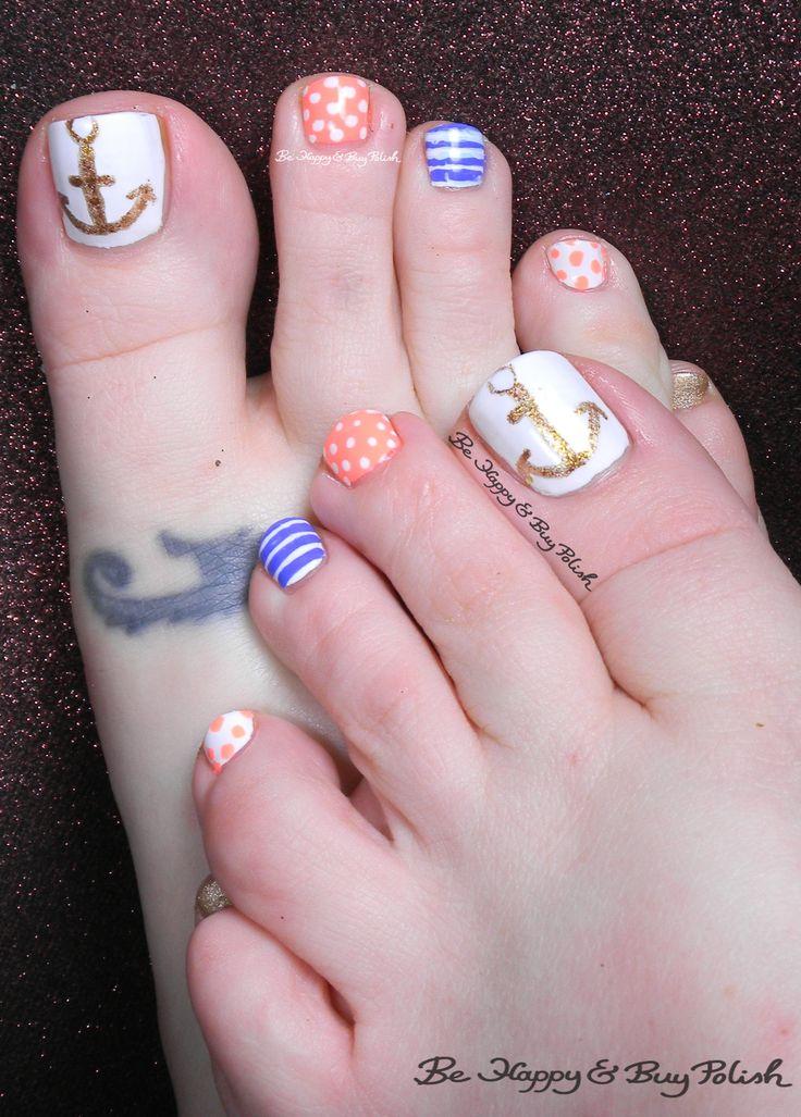 nautical toe nail art