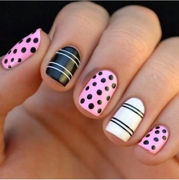 Polka dots and stripes nails