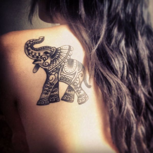 Small elephant tattoo for women