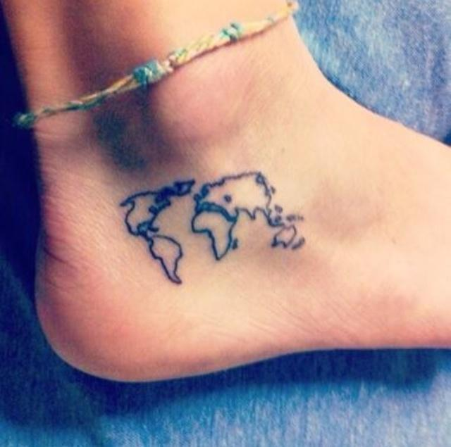 Small world map tattoo on ankle gumiabroncs Choice Image