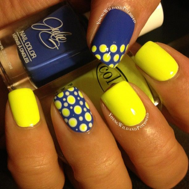 Yellow polka dots Summer nail art