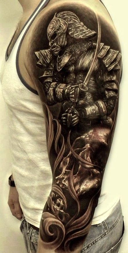 3d Warrior Sleeve Tattoo