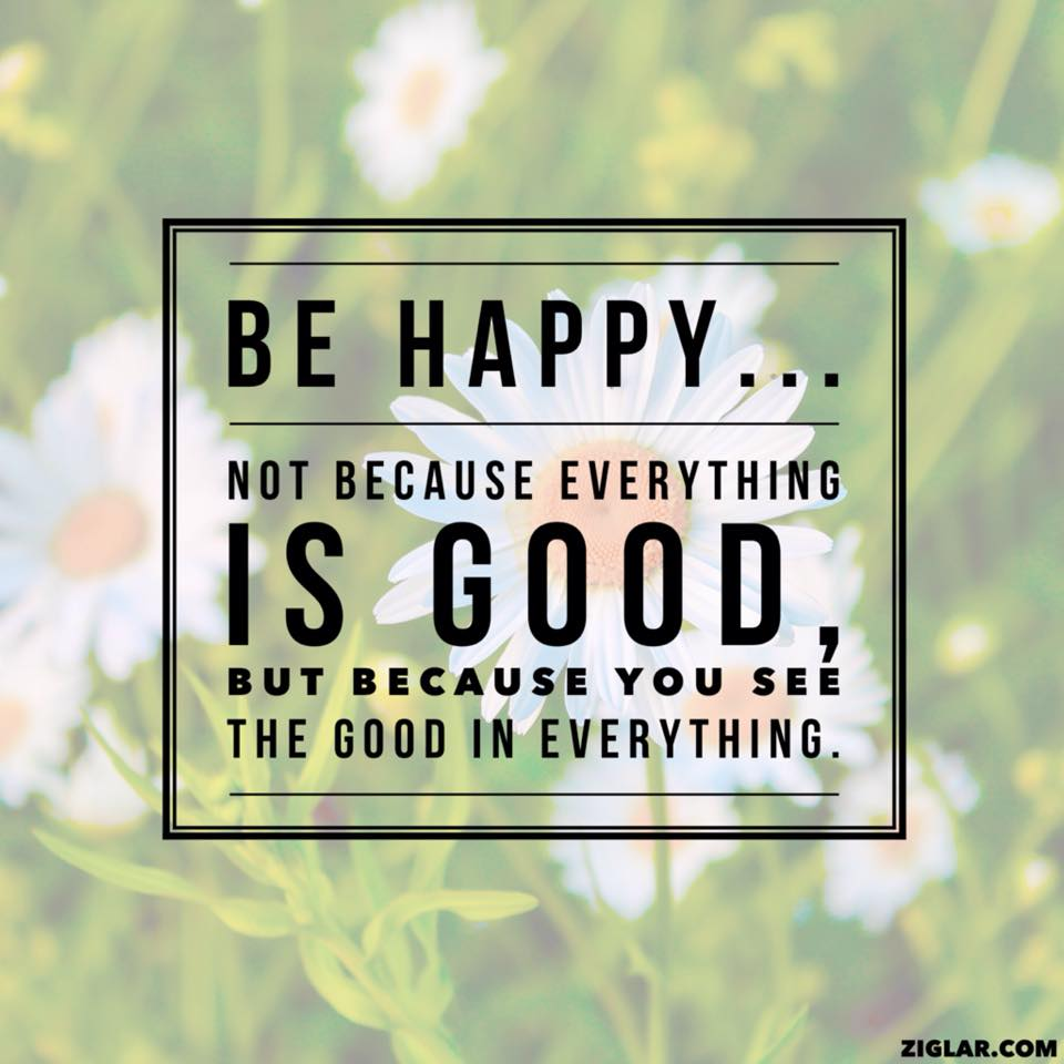 Be happy not because everything is good, but because you see the good in everything.