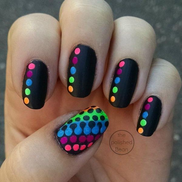 Black-Rainbow-Polka-Dot-Nails