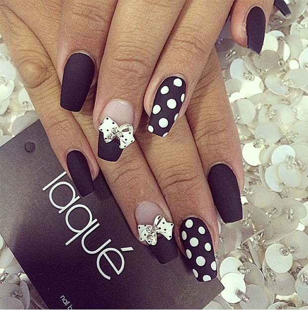 Polka dots coffin nails with white bows