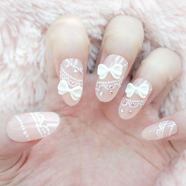 White lace and bow nail design prinsesfo Images