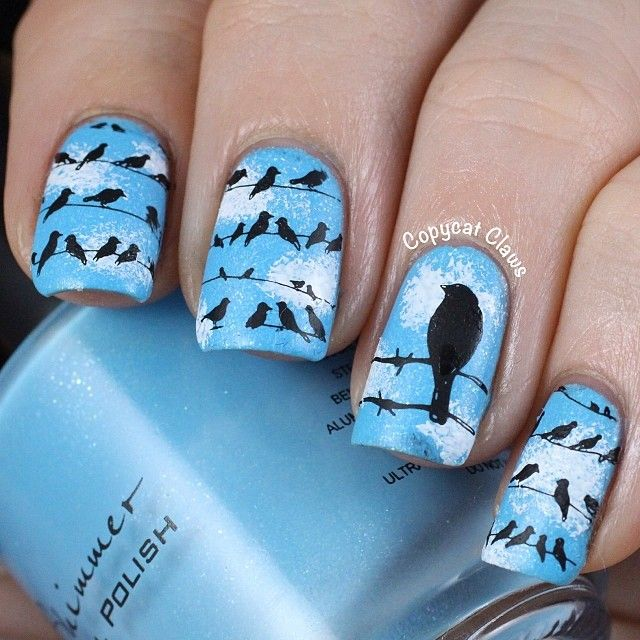 Birds On Wires Nail Art