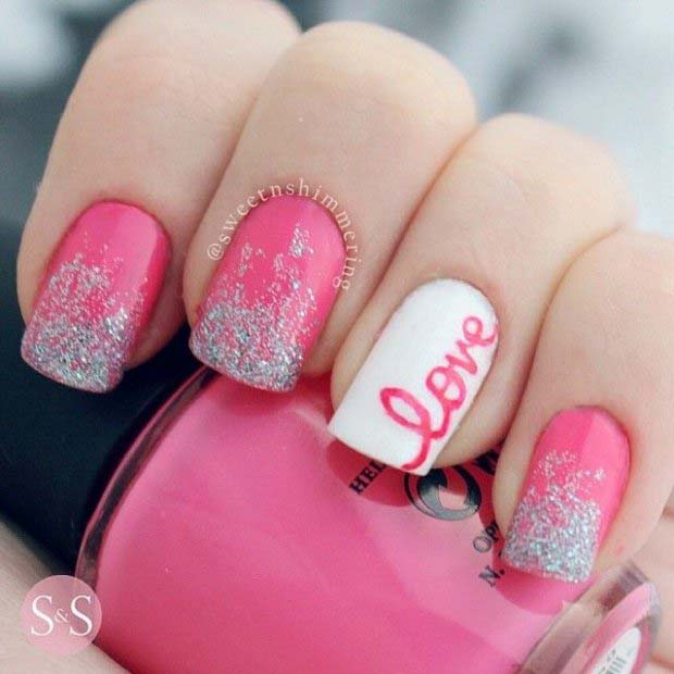 Adorable Valentine S Day Nail Ideas With Cursive Love Pink And Glitter