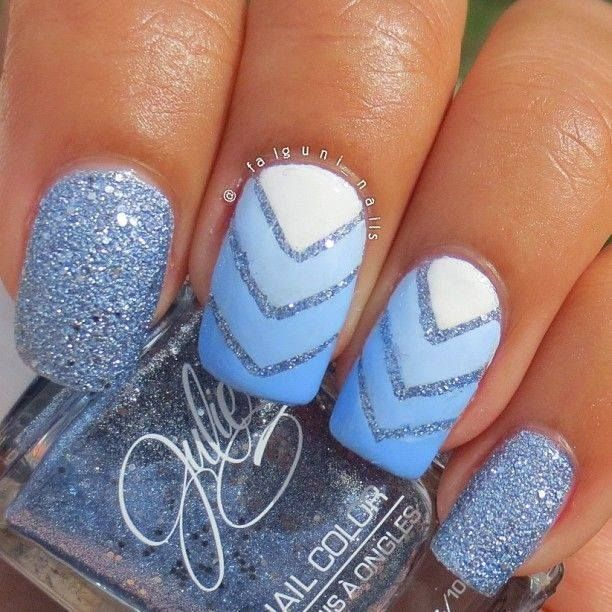 Blue ombre nails with glitter Chevron