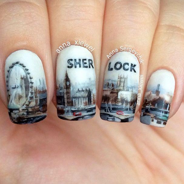 Cityscape painting nail art