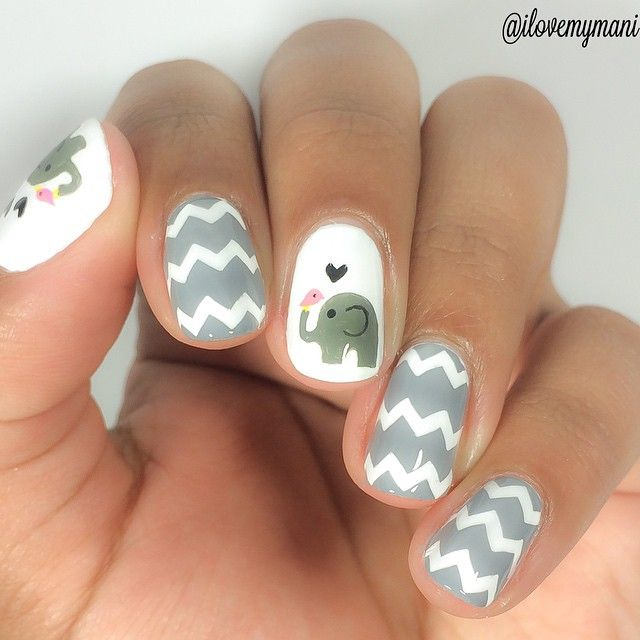 Cute Elephant With Chevron Nail Art