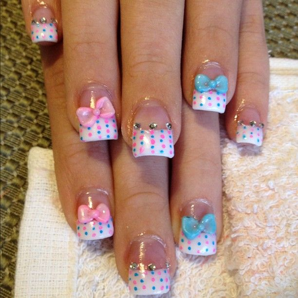 Cute Polka Dots Nails With Bows And Diamond