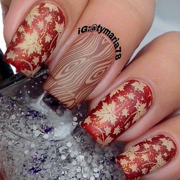 Fall Leaves Inspired Nail Art
