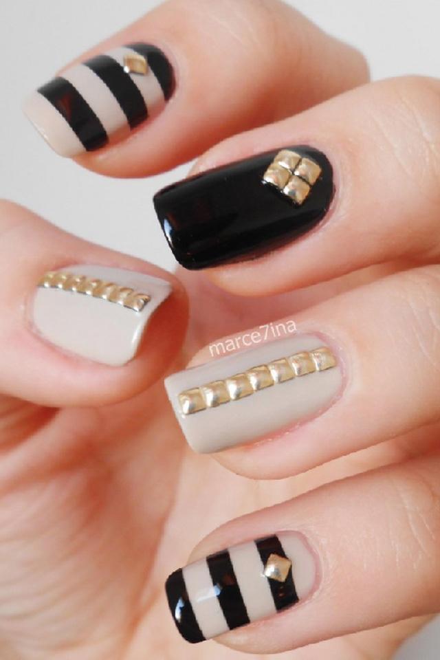 Дизайн ногтей бежевый черный