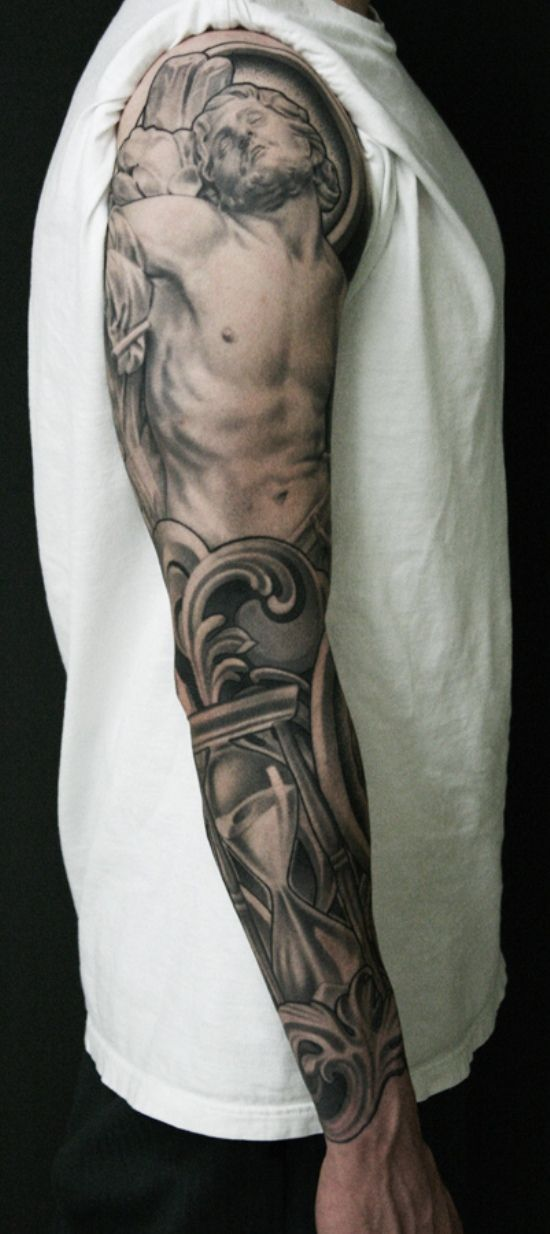 jesus christ religious full sleeve tattoo. Black Bedroom Furniture Sets. Home Design Ideas