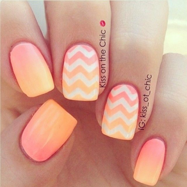 Pink Ombre nails with white chevron