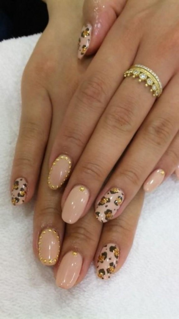 Pink Nails With Gold Dots And Leopard Print Design