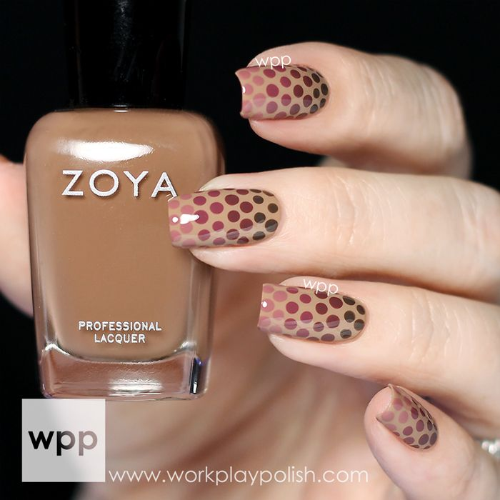 Polka dots nails in brown theme