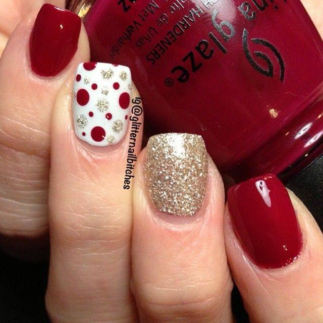 Red glitter polka dots nail art for Valentine's Day