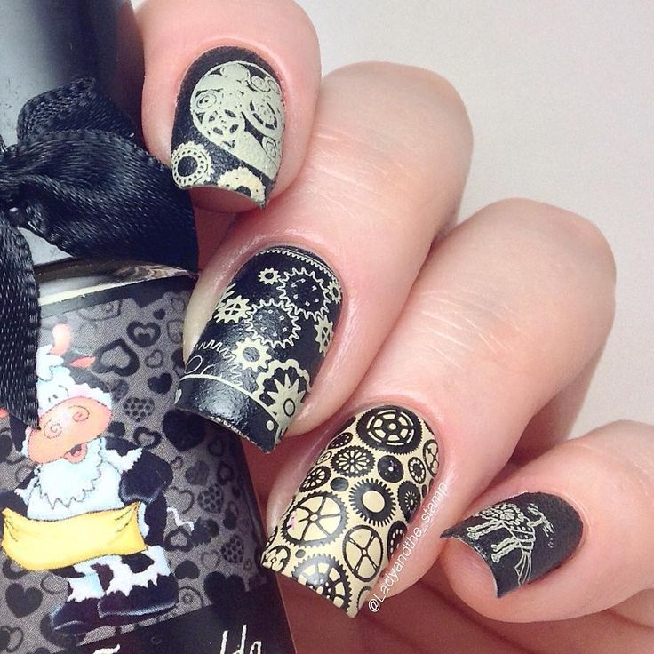 Steampunk style nail art prinsesfo Images