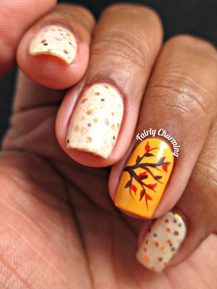 Tree leaves and polka dots nails in Autumn theme