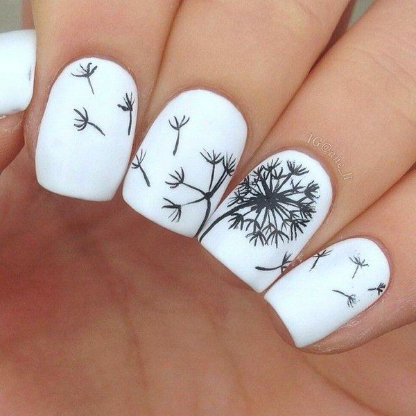 Black and white dandelion nail art prinsesfo Choice Image