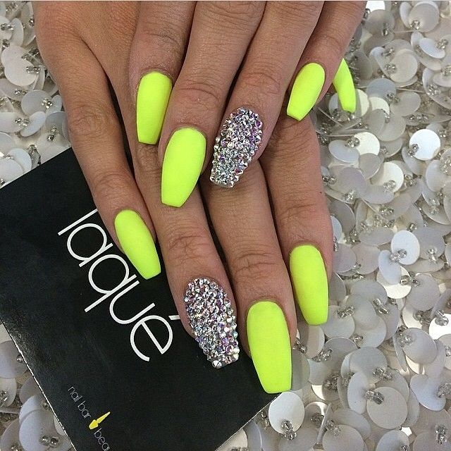 Chartreuse coffin nail art prinsesfo Images