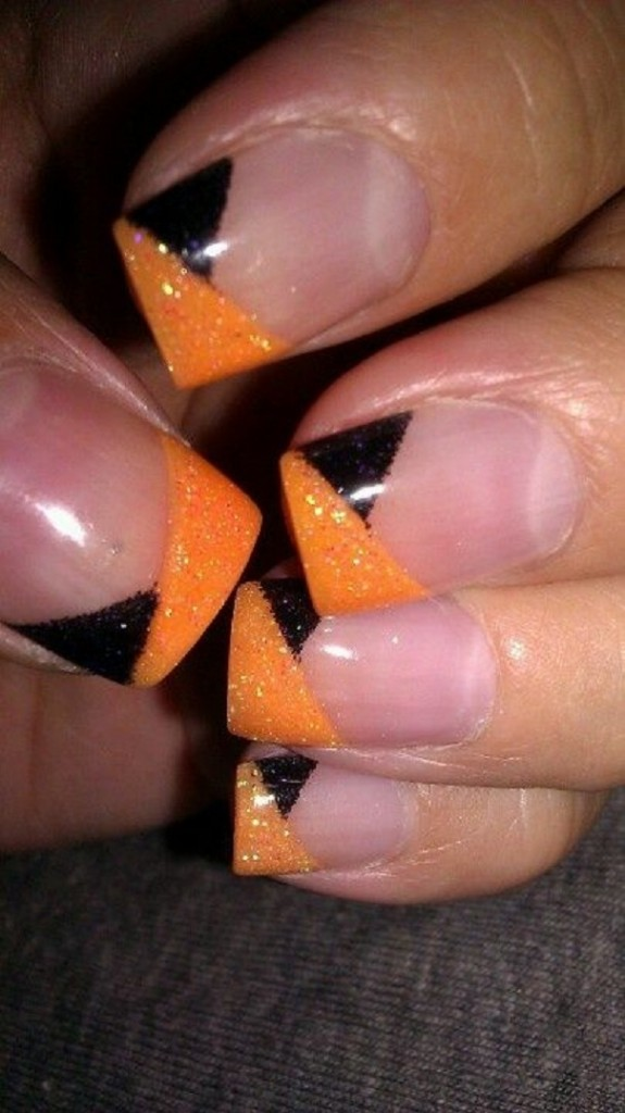 Halloween French nails with Black Orange Glitter angled overlay nail ...