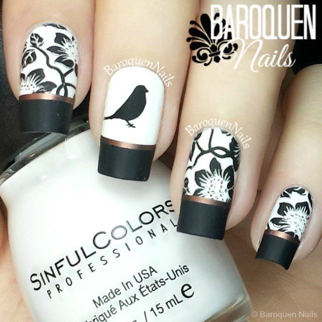 - Pretty Black Nail Art With Frech Nail Tips And Stamping Bird And Flowers