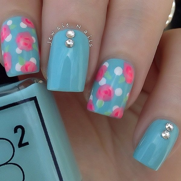 Blue floral themed Polka dots nail art design