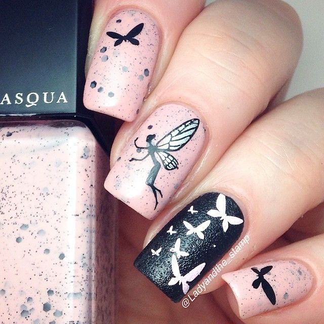 Butterfly fairytale nail art design