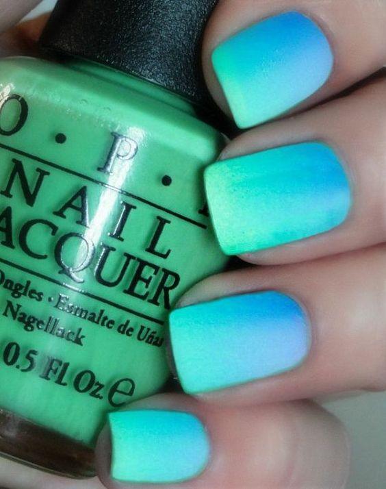 Dream blue Ombre nails