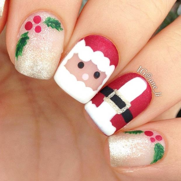 Cute Santa Claus Christmas Nails