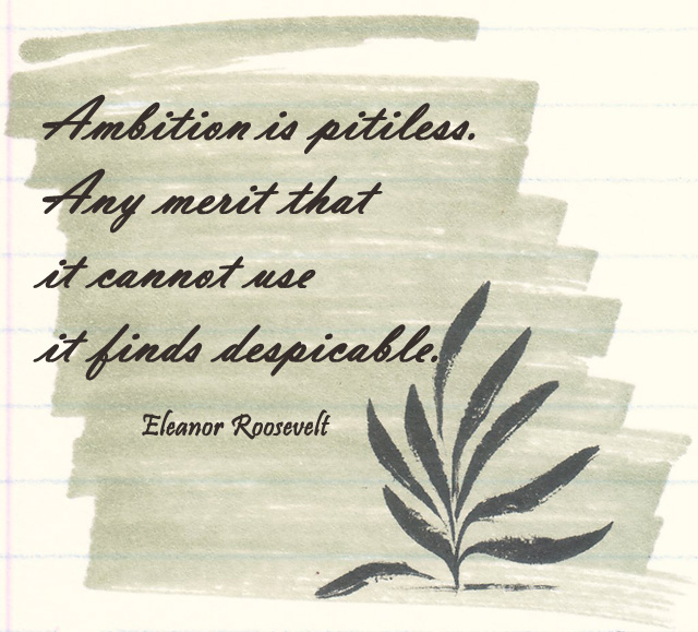 Ambition is pitiless. Any merit that it cannot use it finds despicable.