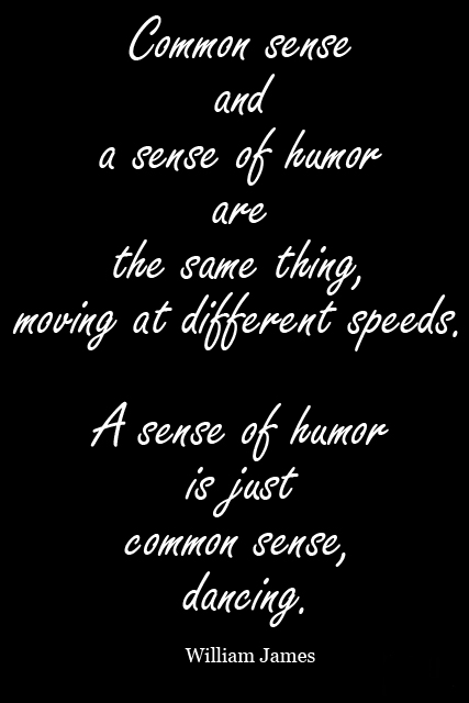 Common sense and a sense of humor are the same thing, moving at different speeds. A sense of humor is just common sense, dancing.