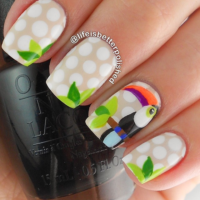 Acrylic paint of Polka dots and toucan nails