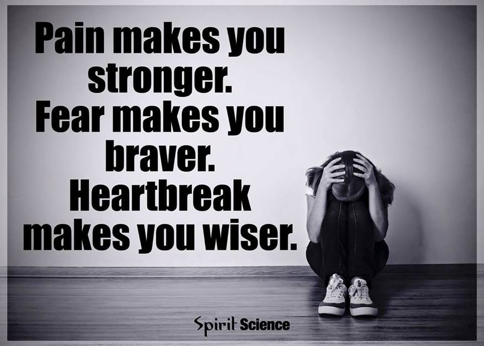 Pain makes you stronger. Fear makes your braver. Heartbreak makes you wiser.