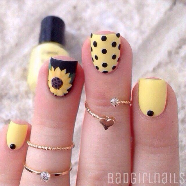 Sunflower and Polka dots nail art