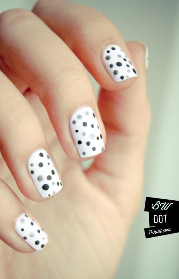 Cute black and white polka dots nails