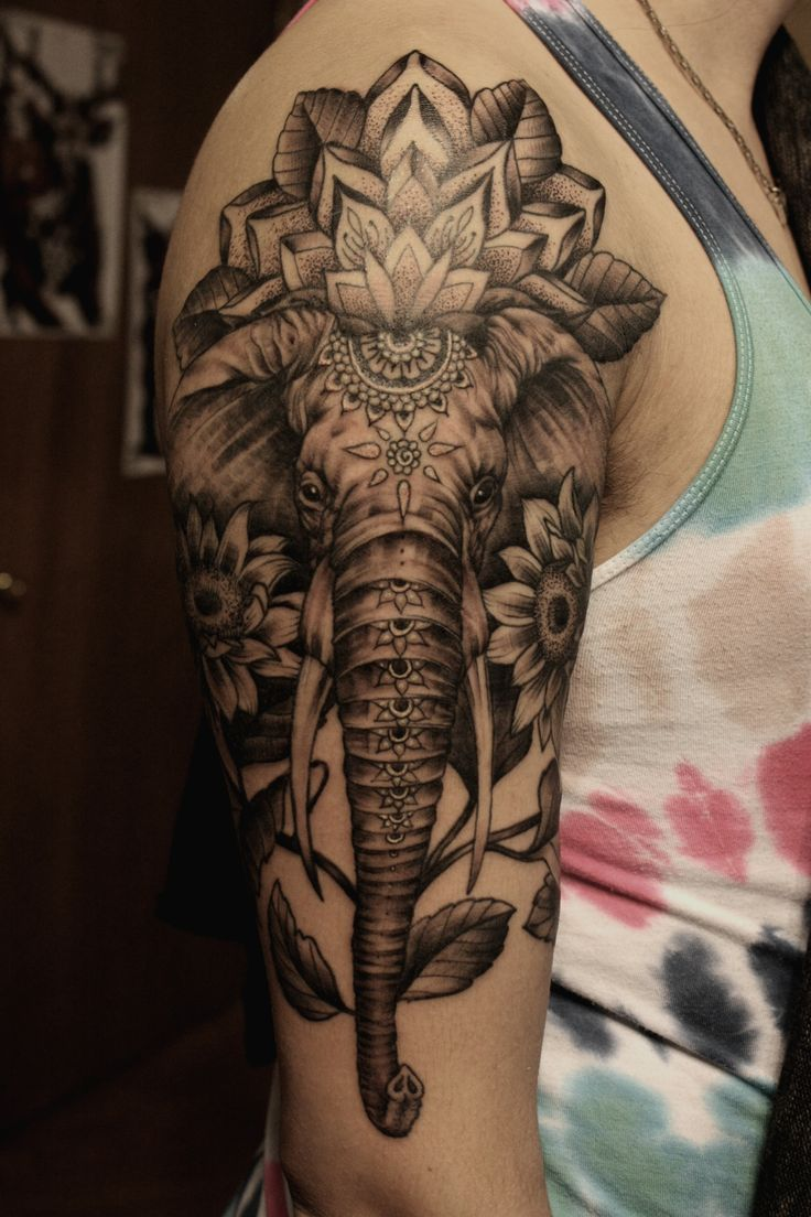 Elephant sleeve tattoo for men