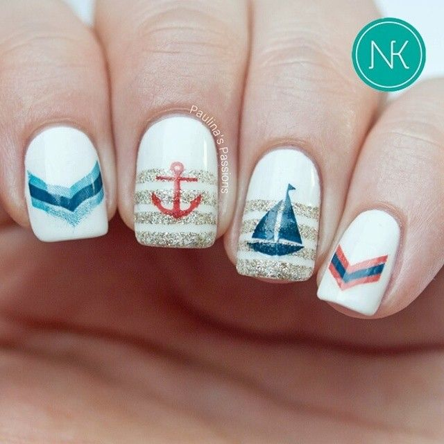 Nautical nails with Chevron anchor boats and glitter stripes