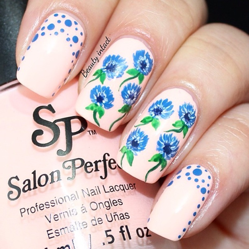 Sparkle floral and polka dots nail art