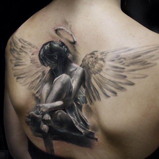 Amazing angel girl back tattoo